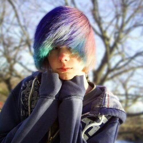 Rainbow Emo Hairstyles for Guys