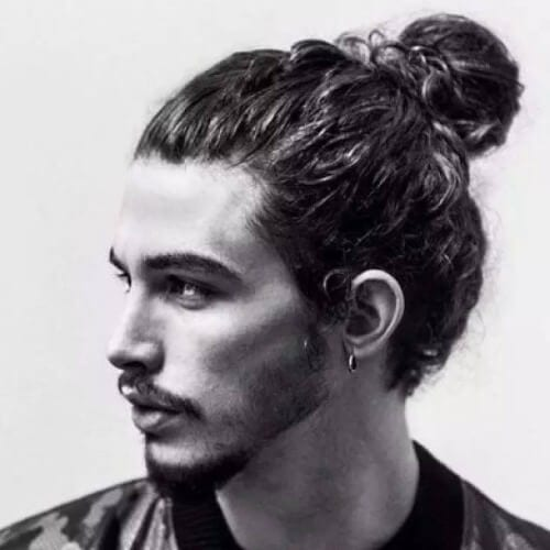 Curly Man Bun Hairstyle