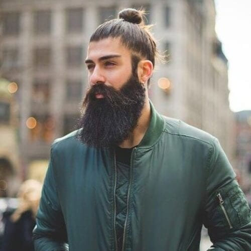 Man Bun With Thick Beard
