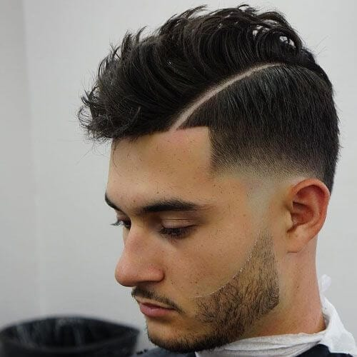 Temp Fade Haircut with Hard Part
