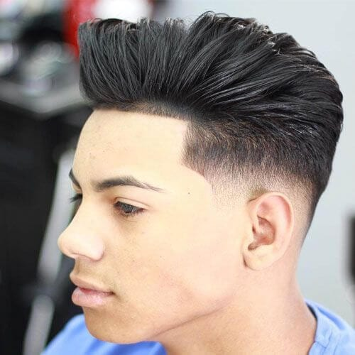 Temp Fade Haircut with Medium Hair