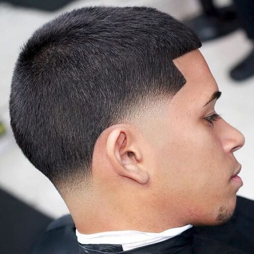 Temp Fade Haircut with Straight Hair