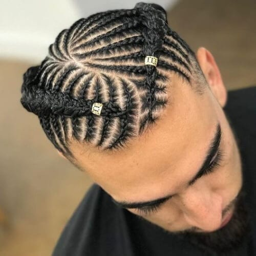 Braids For Men With Metallic Beads