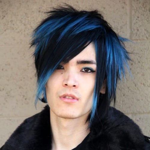 blue emo punk haircut