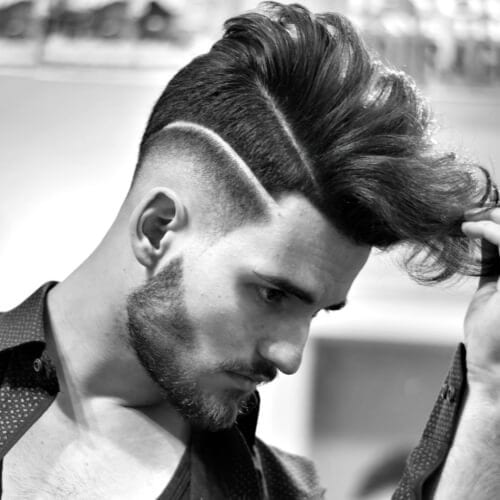 Flow Hairstyle with Shaved Lines