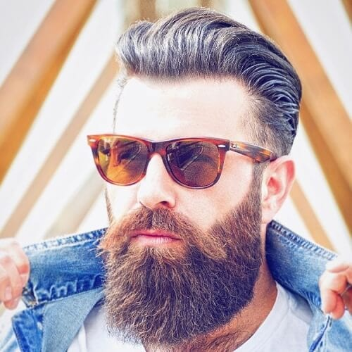 Flow Hairstyle with Thick Beard