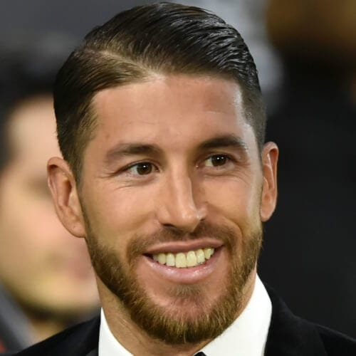 Sergio Ramos Haircut with Diagonal Part