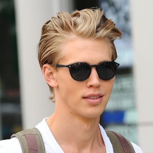 Swept Back Blonde Hairstyles for Men