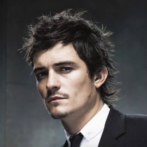 Orlando Bloom Textured Mullet Hairstyle