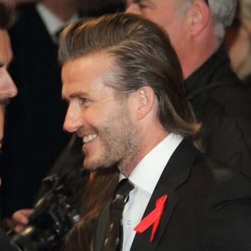 David Beckham Slicked Back Mullet Haircut