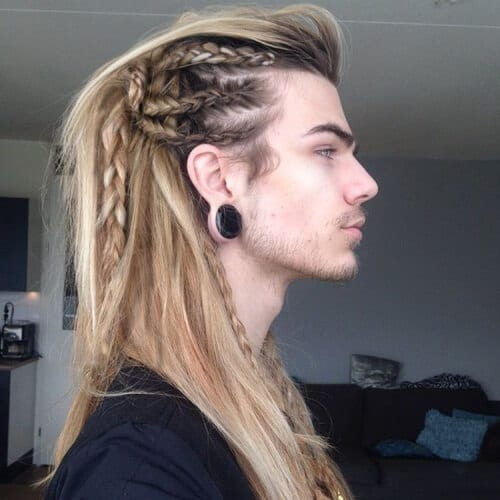 Side-braided Viking Hairstyles