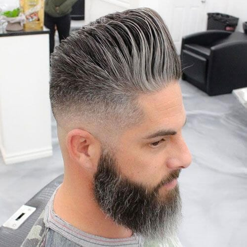 natural gray modern pompadour