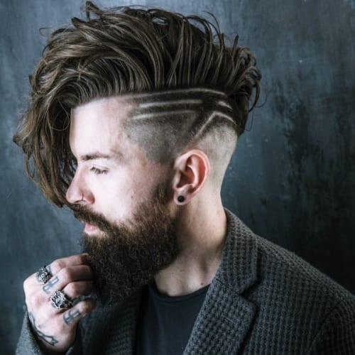 side swept undercut with beard and textured sides