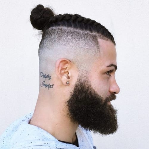 braided man bun with bald fade and beard