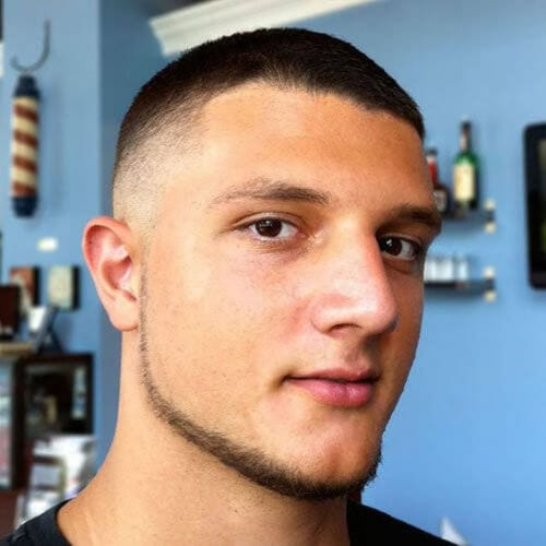 Bald Fade with a Chin Strap Beard bald fade with beard