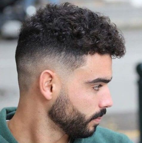 Curly Hair with Mid Bald Fade with beard