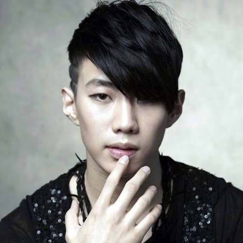 Fade with Angular Fringe korean men haircut