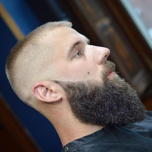 Long Beard + Classic Military High and Tight bald fade with beard