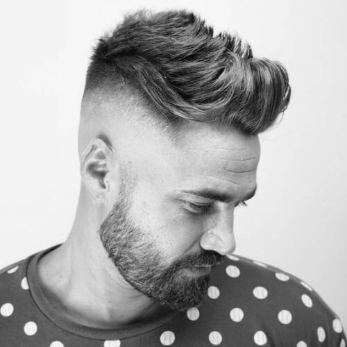 Medium Textured Quiff + Bald Fade with beard