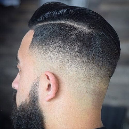 Mid Bald Fade with Side Part bald fade with beard