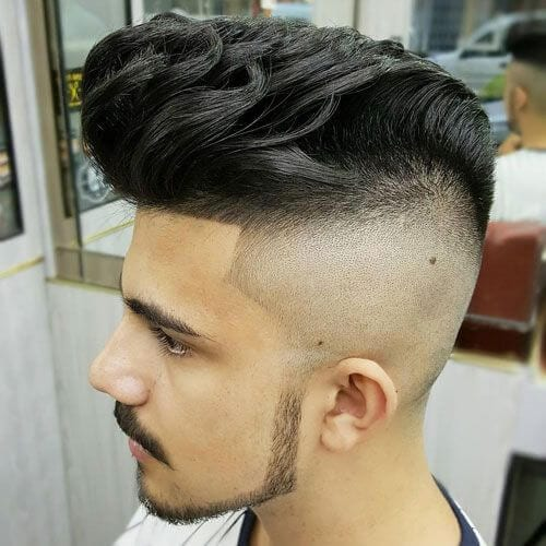 Razor Fade + Pompadour bald fade with beard