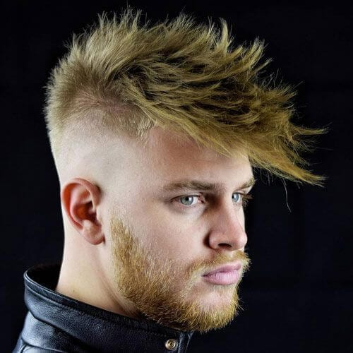Spiky Fringe with High Bald Fade and Beard
