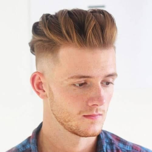 Undercut with Twist Back Top bald fade with beard