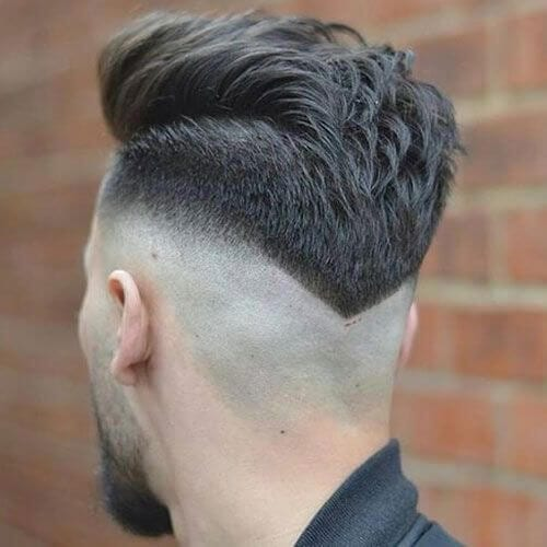 V-Shaped Neckline bald fade with beard