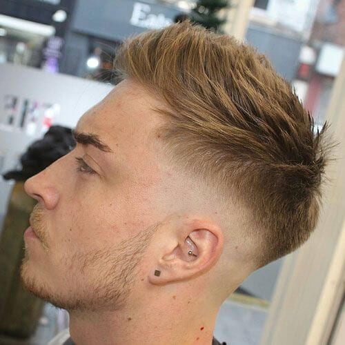 blonde spikes bald fade with beard