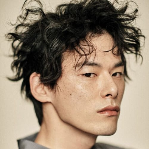 curly korean men haircut