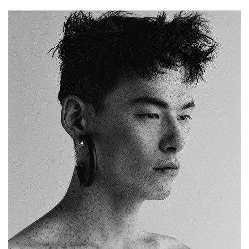 feathery korean men haircut