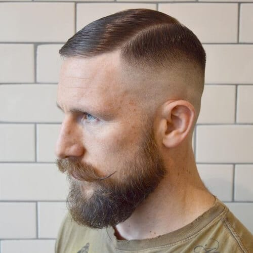 hipster bald fade with beard