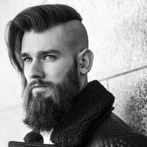 long hair bald fade with beard