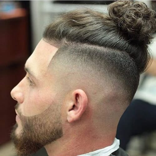 man bun bald fade with beard