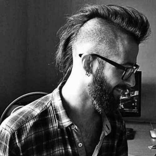 mohawk bald fade with beard