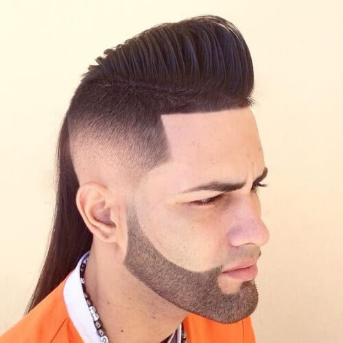 mullet bald fade with beard