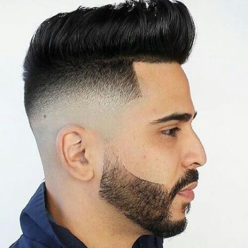 pompadour bald fade with beard