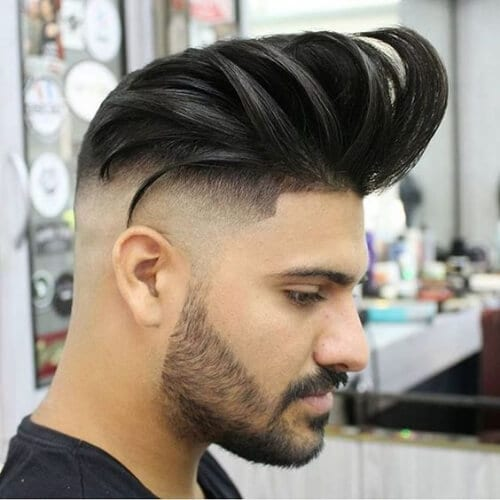pompadour quiff bald fade with beard