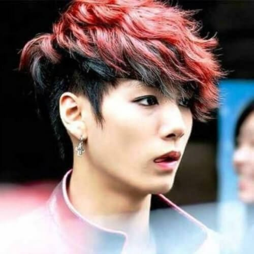 red and black korean men haircut