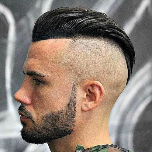 slick back bald fade with beard