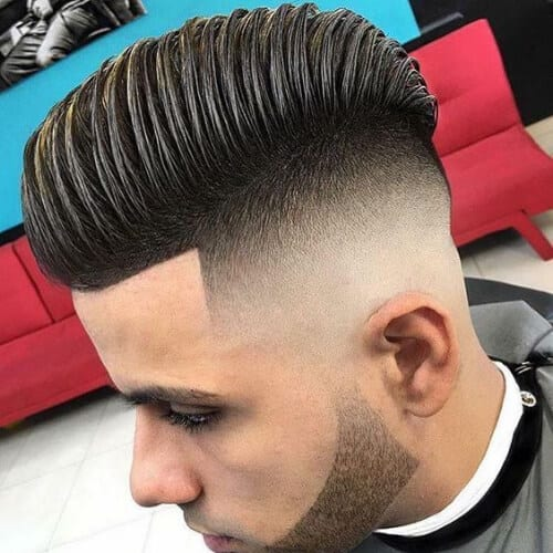 textured bald fade with beard