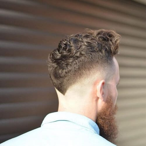 v curly bald fade with beard