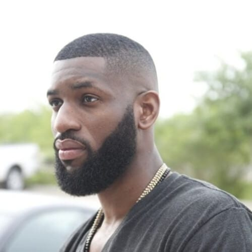 waves bald fade with beard