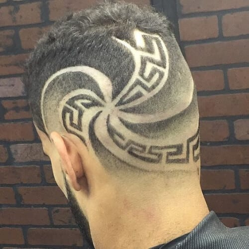 spiral greek hair designs for men
