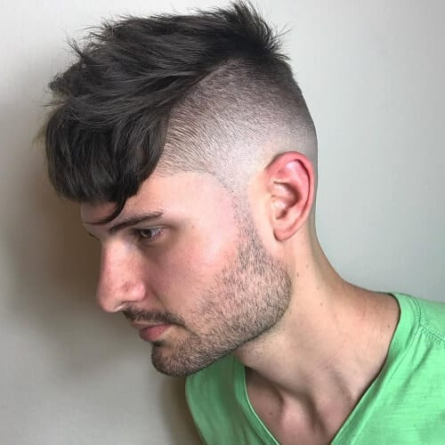 long bangs high fade haircut