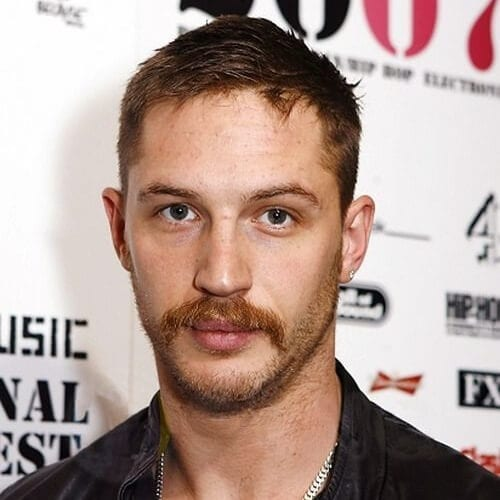 tom hardy moustache and stubble
