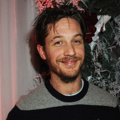 youthful and scruffy tom hardy beard