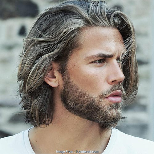 long wavy hair and short straight beard
