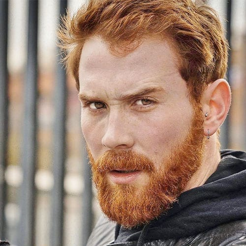 ginger beard man with leather jacket