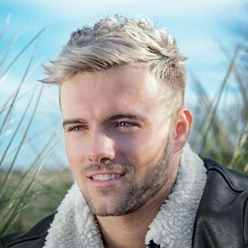 blonde man with leather jacket and short scruff beard